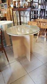 Pair Of Glass Top Pedestal Tables With Custom Made Table Covers £10 Each