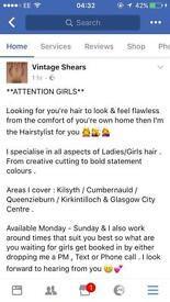 Freelance Ladies Hairstylist