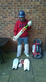 Youth's cricket equipment.