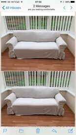3 seater sofa bed with washable covers in cream