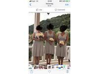 Grey/silver knee length bridesmaid dresses