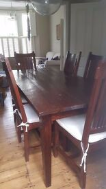 Lombok dining table and 6 chairs with cushions