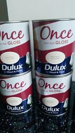 Dulux Once Gloss Natural Hessian x 4 + Cookie Dough x 3