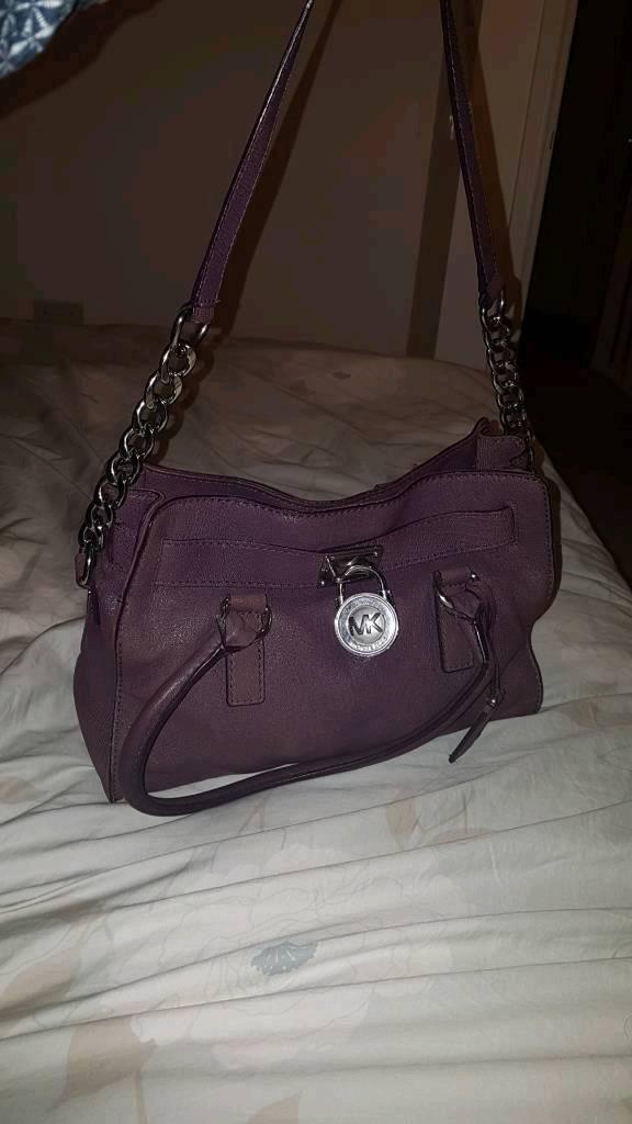 Genuine Real Leather Purple Michael Kors Handbag Rrp 300
