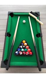 Table top games pool, football and air hockey