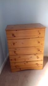 Pine effect chest of drawers- 5 drawers