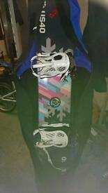 Snowboard with snow boots k2 bindings and carry case bag
