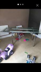 Tempered chrome glass table