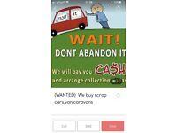 (WANTED) We buy scrap cars,van,caravans