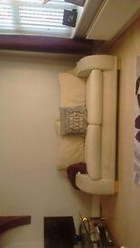 x 2 cream 3 seater sofas