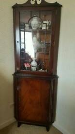 Wooden Glass Fronted Corner Unit