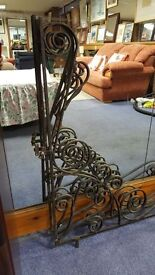 Two Large Black Cast Iron Porch Canopy Decor in Good Condition
