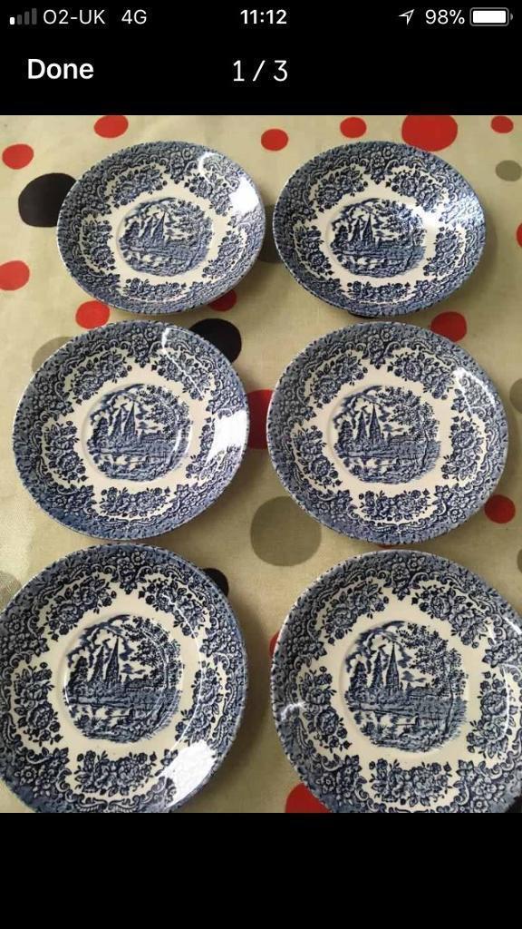 Set of 6 vintage Ironstone saucers
