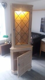 Corner cabinet with light, shabby chic style, leaded glass
