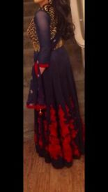 Midnight blue gown size small (10), satin with red and gold detailing