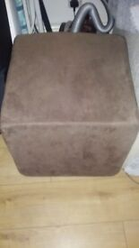 Good Footstool Cube Pouffe Suede Brown
