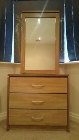Sliding Vanity Mirror & Chest of Drawers