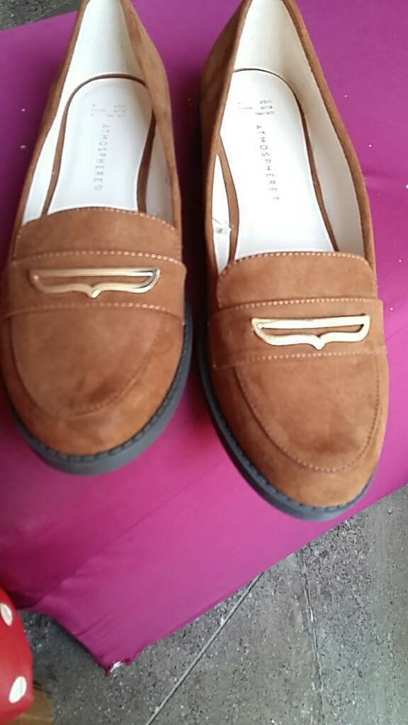 Tan Suede effect flat shoes