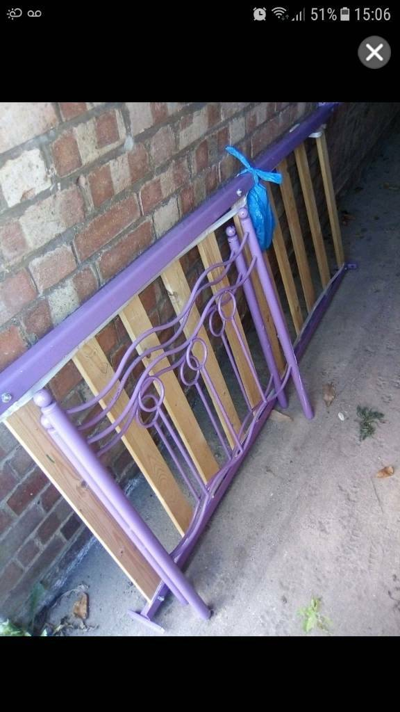Purple single bed frame