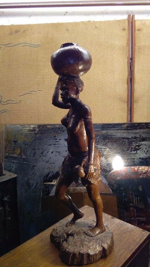 vintage large African carved figure hardwood high quality example ethnographic