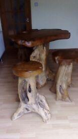 Teak Tree Root Table and 3 Stools