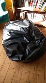 Big black fo leather bean bag