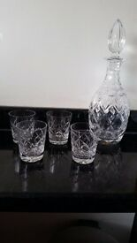 Edinburgh Crystal Whiskey Decanter and 4 Glasses. Great Condition