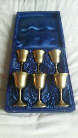 6 Brass Chalices/goblets