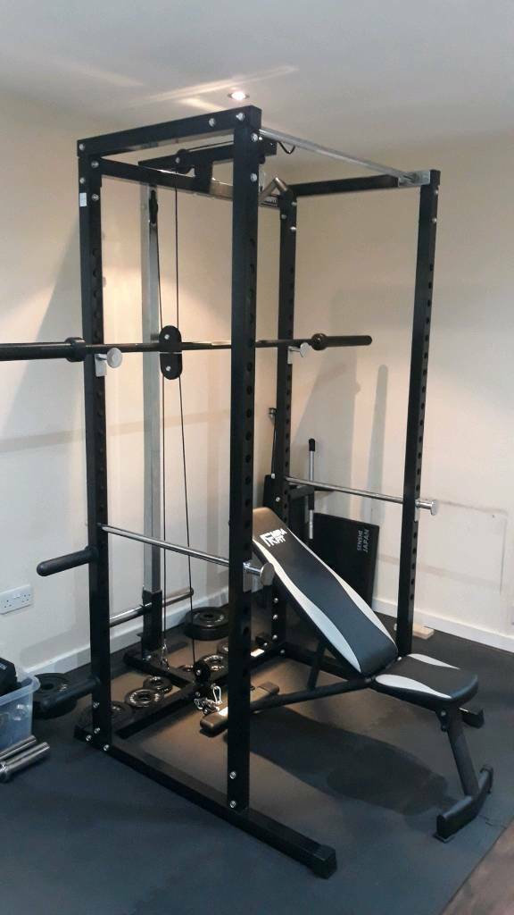 Home gym squat rack cable machine barbell
