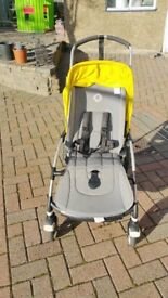 Bugaboo Bee 3 pushchair Grey Melange with Yellow canopy and accessories