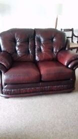 2 Seater Leather Settee - Good condition