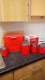 Bread bin, tea caddy set.