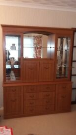 Tall Wooden Cabinet with Mirrored Background