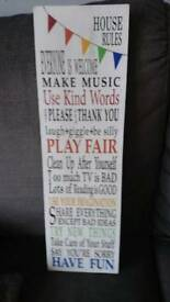 House rules shabby Chic Wall sign