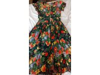 Beautiful Cotton Antique Print Dress - Size 10/12