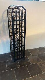 Decorative large upright wrought iron wine rack