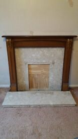 Marble for fireplace and hearth with wooden surround £50