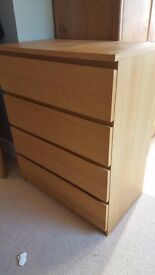 Ikea 4-Drawer Dresser, Oak Veneer