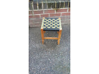 small wood stool with woven pattern top