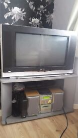 QNN TV , GOODMANS digital tv receiver And Tv cabinet table
