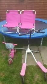 Kids bundle 2 chairs, 3 wheel scooter ,flicker