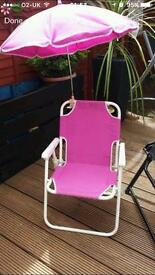 Toddler pink summer chair with umbrella