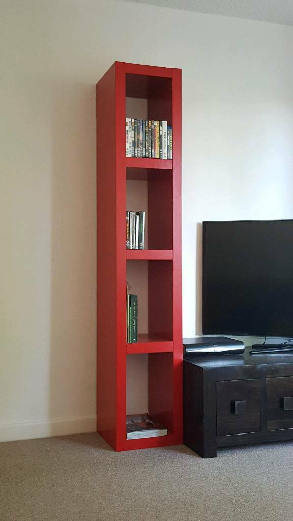 Vintage red Ikea dvd/book unit chunky tall