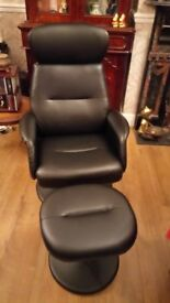 Reclining swivel office chair and footstool in black, fake leather. As new