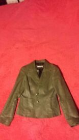 Women's green real-leather jacket (Size - M (10) )