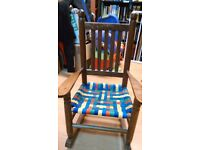 Wooden rocking chair and matching foot stool set. Handmade for children