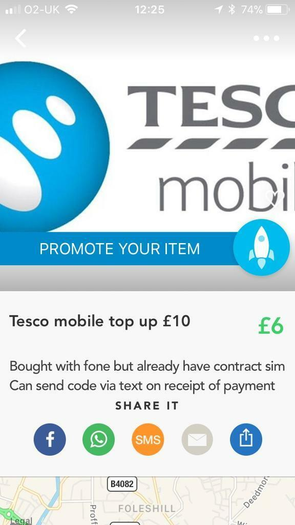 Tesco mobile 10 pound top up
