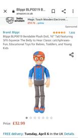 Moving on 9th april: Blippi musical plush toy