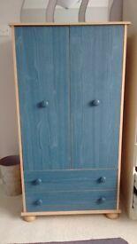 Children's blue and pine wardrobe, hanging rail, 2 door, 2 drawer £45
