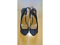 Chloe slingback kitten heels, black patent leather, size 39